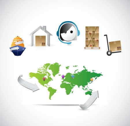 world map customer service logistics control illustration design