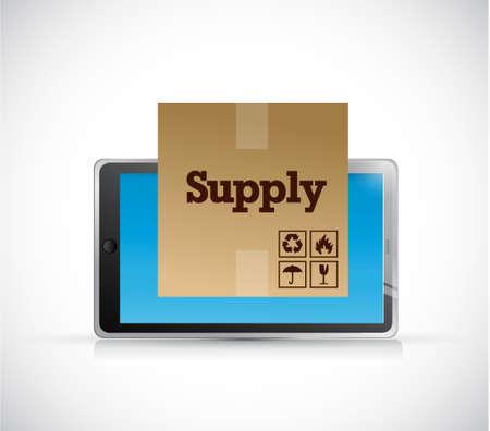 track supply shipment on a tablet illustration design graphic