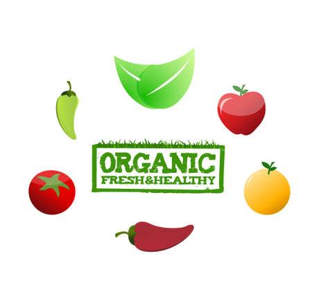 organic fresh and healthy stamp around food. illustration design graphic