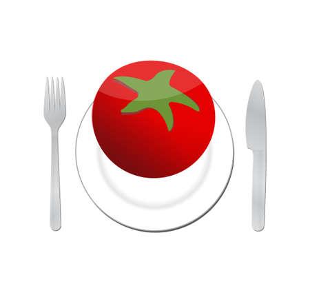 food plate: tomato on a plate. organic food illustration design graphic Illustration