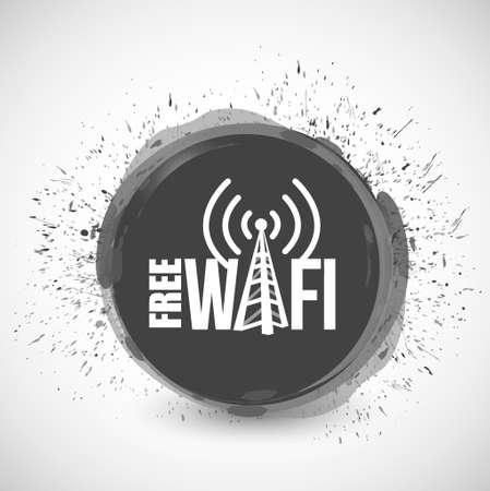 boardcast: free wifi cloud ink splatter illustration design graphic Illustration