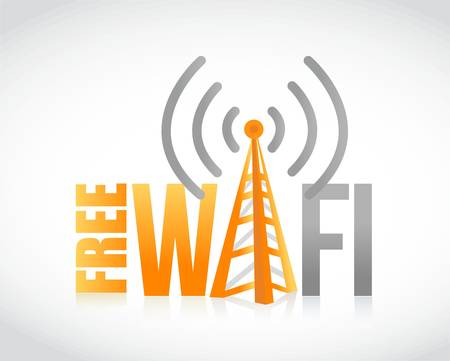 sign orange: free wifi orange and grey sign illustration design graphic Illustration
