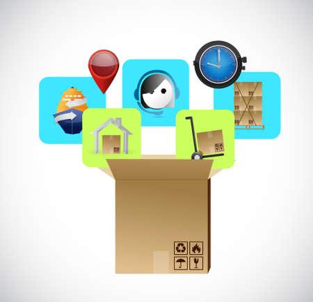 package sending: product supply transportation concept. logistic illustration design