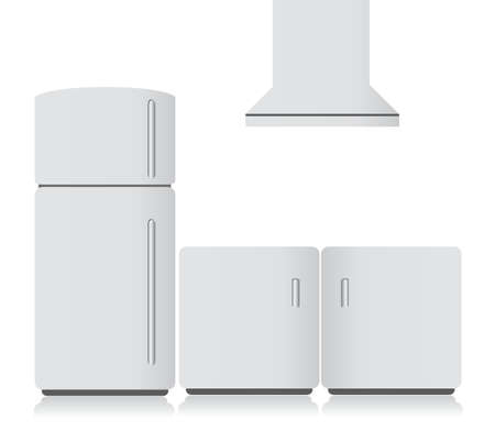 frig: white kitchen electronics. illustration design graphics over white