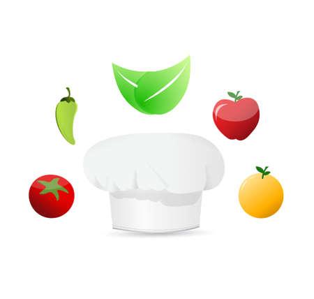 preservatives: organic food around a white chefs hat. illustration design