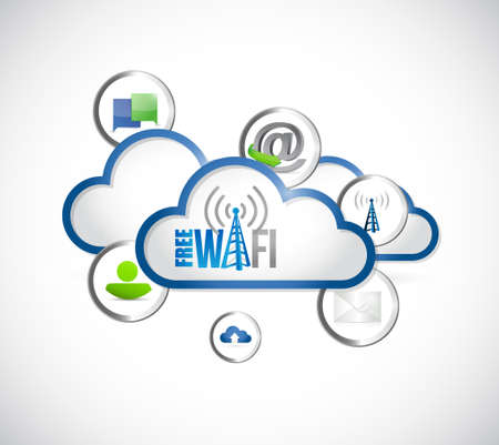 free wi-fi cloud computing tools and icons illustration design graphic