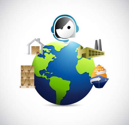 box design: customer service for supply logistics concept illustration design Illustration