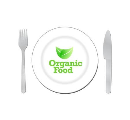 food plate: organic food sign on a white plate. illustration design Illustration