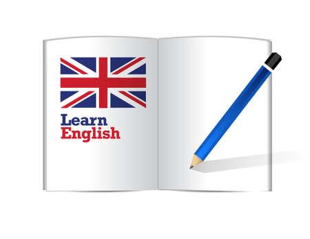english book: learn english book illustration design graphic over white
