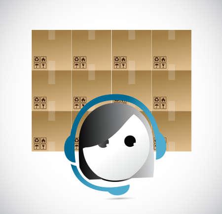 customer service representative: boxes and customer service representative illustration design graphic