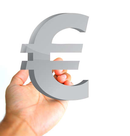 grabbing: hand holding a euro currency symbol. ilustration and photo design
