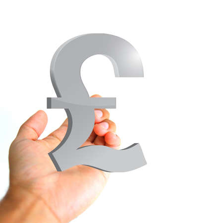grabbing: hand holding a pound currency symbol. ilustration and photo design Stock Photo
