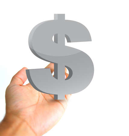 currency symbol: hand holding a dollar currency symbol. ilustration and photo design Stock Photo