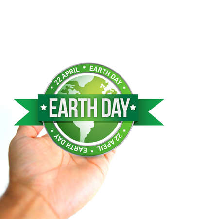 hand holding a earth day seal. photo and illustration design
