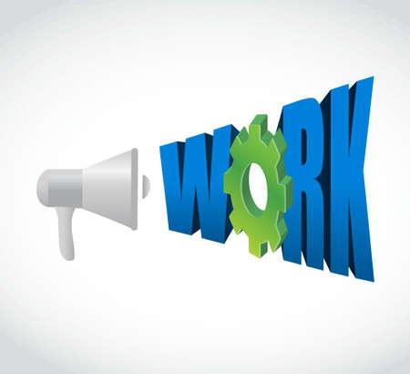 urgent announcement: megaphone work gear message sign illustration design graphic