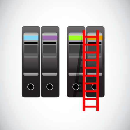 servers and ladder to the top. illustration design