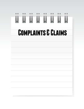 complaints: complaints and claims sign notepad illustration design graphic