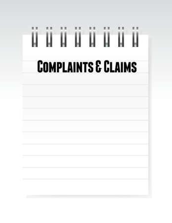klachten en claims ondertekenen notepad illustratie grafisch Stock Illustratie