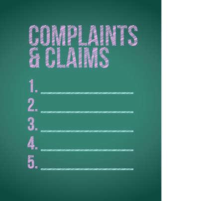 klachten en claims ondertekenen krijtbord illustratie grafisch