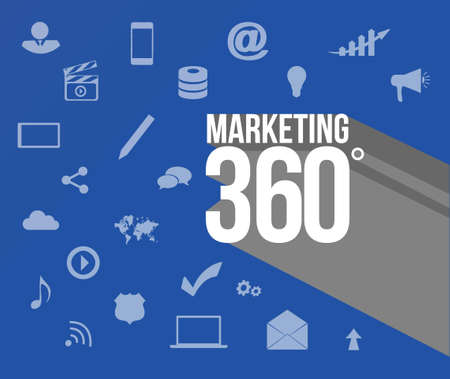 communication tools: marketing 360 sign over marketing tools background