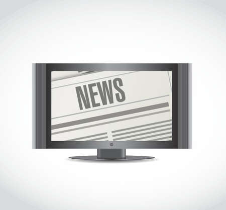 journalism: news on the tv illustration design over a white background Illustration
