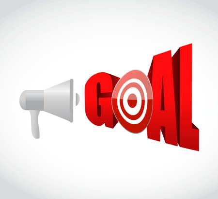 megaphone goal 3d text message sign illustration design graphic Stock Vector - 51376690