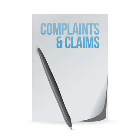 listing: complaints and claims sign notepad illustration design graphic