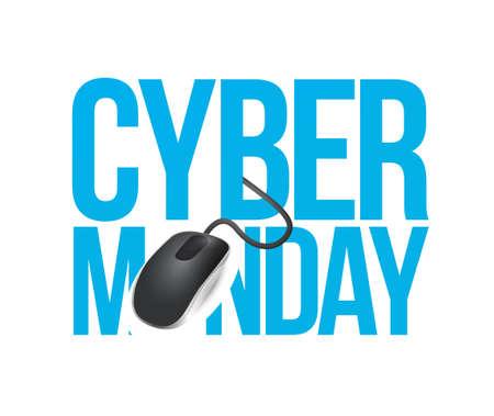 cyber monday mouse sign illustration design over white 向量圖像