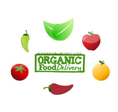 organic food delivery sign concept illustration design graphic