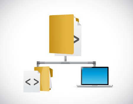 ノート パソコンとソース コード図イラスト デザイン グラフィック