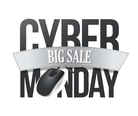 cyber monday big sale sign illustration design over white
