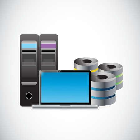 コンピューターのラップトップとサーバー ストレージ概念イラスト デザイン