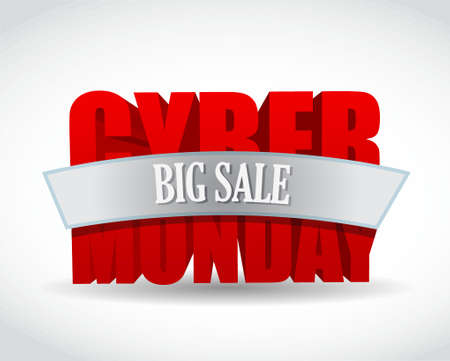 discount banner: cyber monday big sale sign and mouse. illustration design over white