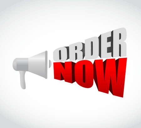 order now: megaphone order now 3d text message sign illustration design graphic