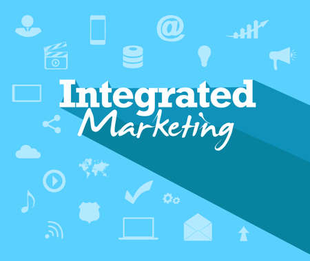 text tool: integrated marketing text sign over tool icon background