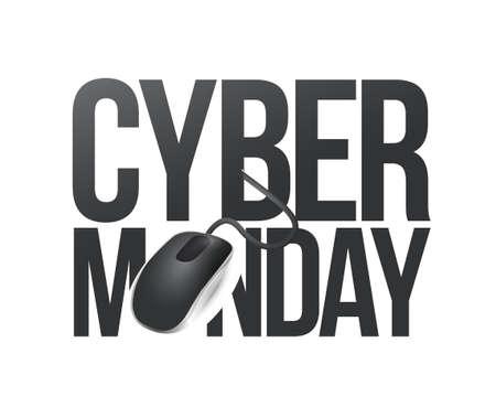 cyber monday phone sign illustration design over white Illustration