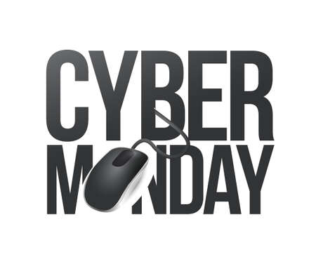 cyber monday phone sign illustration design over white 向量圖像