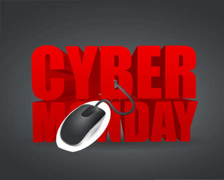 discount banner: cyber monday sign and mouse. illustration design over a black background