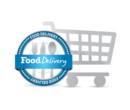 retail sales: food delivery seal and shopping cart illustration design