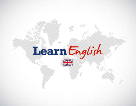 learn english: learn english sign over a world map. illustration design Illustration