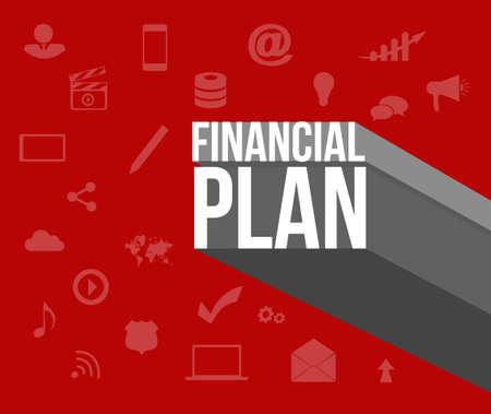 financieel plan teken op pictogrammen afbeelding achtergrond