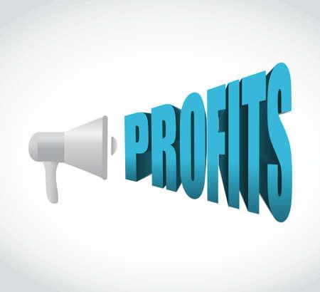 volume: megaphone business profits text message sign illustration design graphic