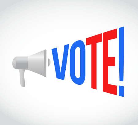 vote megaphone message at loud. concept illustration design Stock Illustratie
