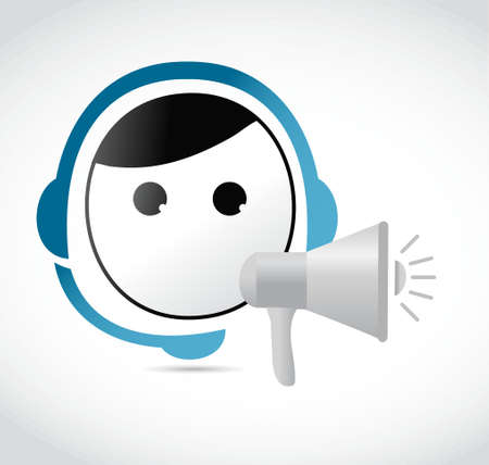 using voice: customer support megaphone message illustration design graphic over white