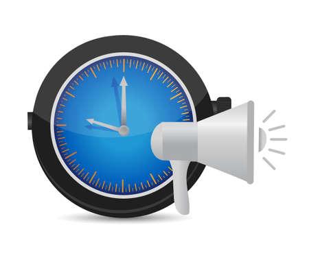 heard: megaphone watch alarm illustration design graphic