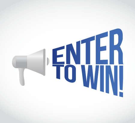 announcements: enter to win megaphone message at loud. concept illustration design