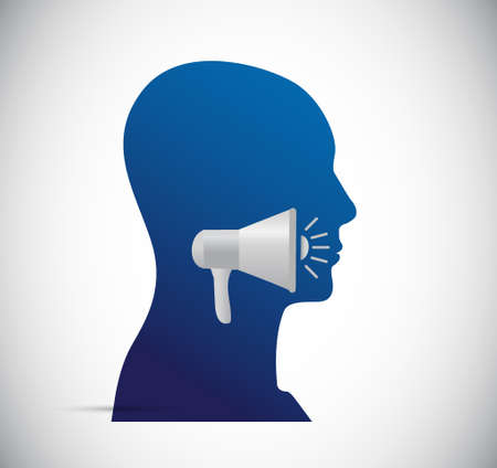 using voice: megaphone screaming concept illustration design graphic over white