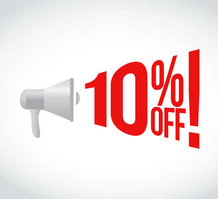 using voice: 10 percent off message concept sign illustration design
