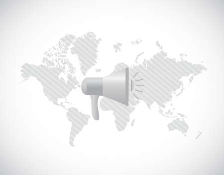 world map megaphone message illustration design graphic over white Illusztráció