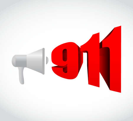 using voice: 911 emergency megaphone message illustration design graphic over white
